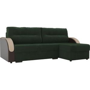 Угловой диван Лига Диванов Дарси велюр зеленый подлкотники экокожа коричневые правый угол