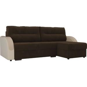 Угловой диван Лига Диванов Дарси велюр коричневый подлокотники экокожа бежевые правый угол фото
