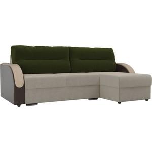 Угловой диван Лига Диванов Дарси микровельвет бежевый подлокотники экокожа коричневые подушки зеленый правый угол