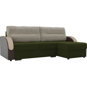 Угловой диван Лига Диванов Дарси микровельвет зеленый подлокотники экокожа коричневые подушки микровельвет бежевый правый угол фото