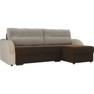 Угловой диван Лига Диванов Дарси микровельвет коричневый подлокотники экокожа бежевые подушки бежевый правый угол