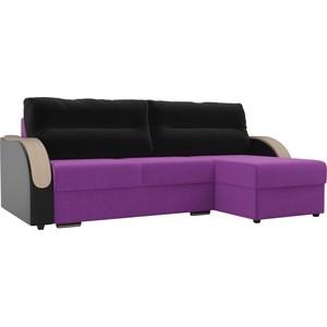 Угловой диван Лига Диванов Дарси микровельвет фиолетовый подлкотники экокожа черные подушки правый угол