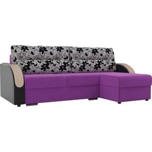 Угловой диван Лига Диванов Дарси микровельвет фиолетовый подлкотники экокожа черные подушки рогожка на флоке правый угол