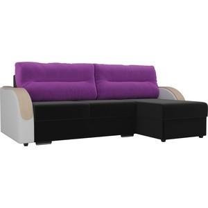Угловой диван Лига Диванов Дарси микровельвет черный подлоктники экокожа белые подушки фиолетовые правый угол