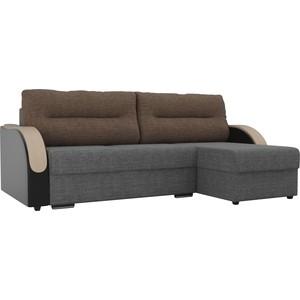 Угловой диван Лига Диванов Дарси рогожка серый подлокотники экокожа черные подушки коричневая правый угол
