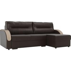 Угловой диван Лига Диванов Дарси экокожа коричневый правый угол фото