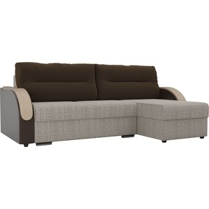 Угловой диван Лига Диванов Дарси корфу 02 подлокотники экокожа коричневые подушки микровельвет коричневый правый угол