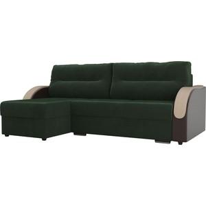 Угловой диван Лига Диванов Дарси велюр зеленый подлкотники экокожа коричневые левый угол