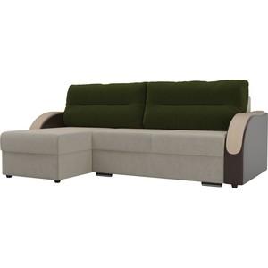 Угловой диван Лига Диванов Дарси микровельвет бежевый подлокотники экокожа коричневые подушки зеленый левый угол