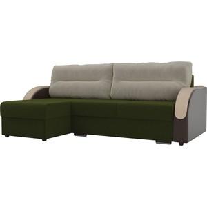 Угловой диван Лига Диванов Дарси микровельвет зеленый подлокотники экокожа коричневые подушки бежевый левый угол