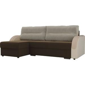 Угловой диван Лига Диванов Дарси микровельвет коричневый подлокотники экокожа бежевые подушки бежевый левый угол