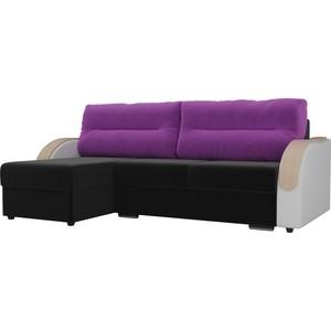Угловой диван Лига Диванов Дарси микровельвет черный подлоктники экокожа белые подушки фиолетовые левый угол
