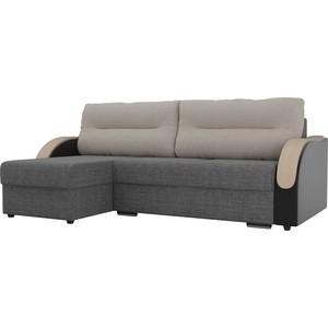 Угловой диван Лига Диванов Дарси рогожка серый подлокотники экокожа черные подушки бежевые левый угол