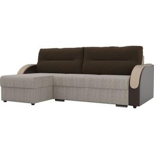 Угловой диван Лига Диванов Дарси корфу 02 подлокотники экокожа коричневые подушки микровельвет коричневый левый угол