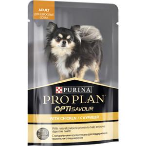 Паучи PRO PLAN OPTI SAVOUR Adult Dog with Chicken с курицей кусочки в соусе для собак мелких пород 100г