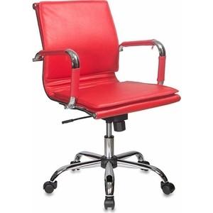 Кресло руководителя Бюрократ CH-993-LOW/RED низкая спинка красный искусственная кожа крестовина хром фото