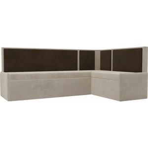 Кухонный угловой диван АртМебель Кристина велюр бежевый/коричневый правый угол фото