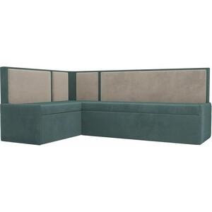 Кухонный угловой диван АртМебель Кристина велюр бирюза/бежевый левый угол фото