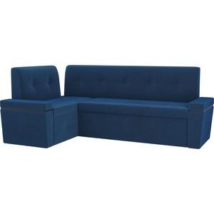 цена на Кухонный угловой диван АртМебель Деметра велюр синий левый угол