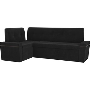 Кухонный угловой диван АртМебель Деметра велюр черный левый угол