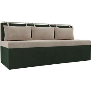 Кухонный прямой диван АртМебель Метро велюр бежевый/зеленый пушоккомплекс фидика бежевый зеленый