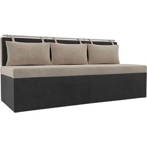 Кухонный прямой диван АртМебель Метро велюр бежевый/серый