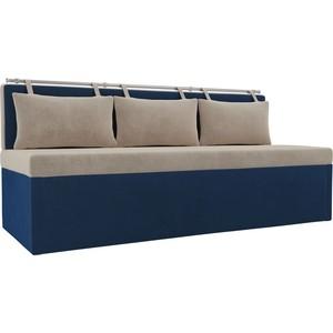 Кухонный прямой диван АртМебель Метро велюр бежевый/синий