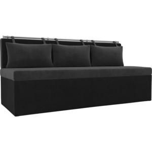 Кухонный прямой диван АртМебель Метро велюр серый/черный