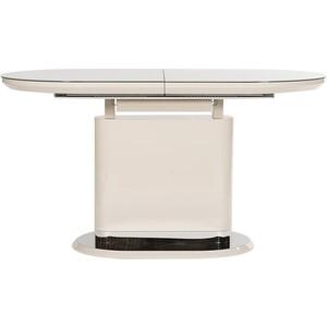 Стол TetChair ERFURT ( mod. DT0705 ) мдф high gloss закаленное стекло слоновая кость/хром