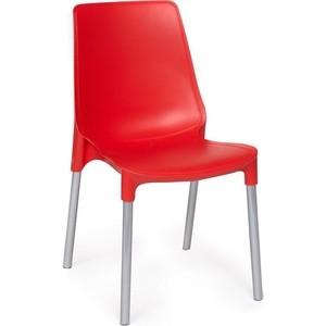 Стул TetChair GENIUS (mod 75) ножки серебристый, сиденье красный