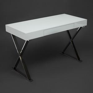 Стол письменный TetChair LAZETTI (mod.EWD-HS01) мдф high gloss / металл white хром