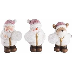 Керамическая фигурка Neon-Night Дед Мороз, Снеговик и Олененок 10*9*13 см (упаковка 3 шт.)