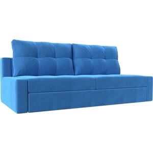 Прямой диван Лига Диванов Мартин велюр синий