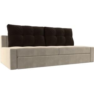Прямой диван Лига Диванов Мартин микровельвет бежевый подушки коричневый