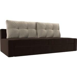 Прямой диван Лига Диванов Мартин микровельвет коричневый подушки бежевый