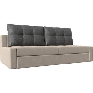 Прямой диван Лига Диванов Мартин рогожка бежевый подушки серый