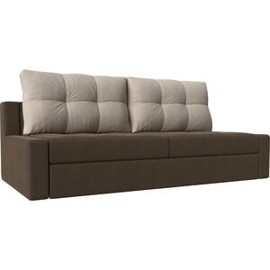 Прямой диван Лига Диванов Мартин рогожка коричневы подушки бежевый