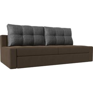 Прямой диван Лига Диванов Мартин рогожка коричневый подушки серый