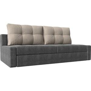 Прямой диван Лига Диванов Мартин рогожка серый подушки бежевый