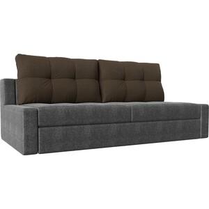 Прямой диван Лига Диванов Мартин рогожка серый подушки коричневый