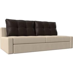 Прямой диван Лига Диванов Мартин экокожа бежевый подушки коричневый фото