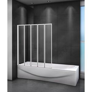 Шторка для ванной Cezares Relax 120x140 прозрачная, белая (RELAX-V-5-120/140-C-Bi)