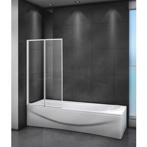 Шторка для ванной Cezares Relax 80x140 прозрачная, белая (RELAX-V-2-80/140-C-Bi)