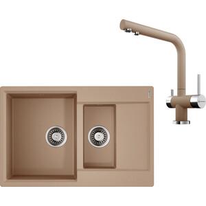 Кухонная мойка и смеситель Omoikiri Daisen 78-2-SA бежевый (4993417, 4994055)