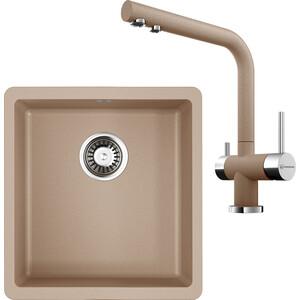 Кухонная мойка и смеситель Omoikiri Kata 40-U-SA 400x420 бежевый (4993422, 4994055)