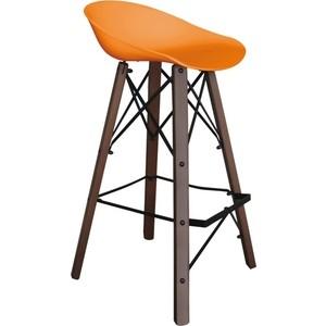 Барный стул Sheffilton SHT-ST19/S80 оранжевый/темный орех/черный