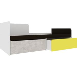 Кровать Атлант Дастин трюфельный, ательер светлый, желтый шафрановый, белая аляска