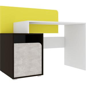 Стол Атлант Дастин трюфельный, ательер светлый, желтый шафрановый, белая аляска письменный