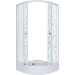 Душевой уголок Triton Стандарт А 100х100 профиль белый, стекла Аква мозайка (Щ0000025927)