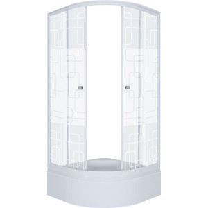Душевой уголок Triton Стандарт В 100х100 профиль белый, стекла Аква квадраты (Щ0000025930)